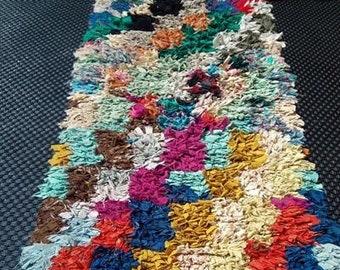 Moroccan boucherouite rug, vintage Berber Moroccan, 184 x 80 cm, hallway, boucherouite rug, rug handmade rug, carpet Moroccan Berber.