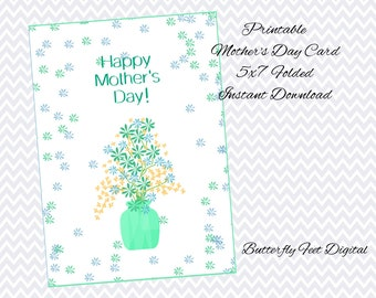 Printable Mother's Day Card, Floral Card, Flowers and Vase, Teal and Blue, 5x7 folded, Mom's Day, Instant Download