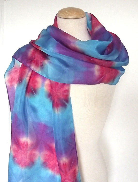 Hand Dyed & Block Printed Silk Scarf - Turquoise, Purple, Blue and Red - 15x72""