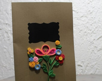 Greetings card, personalised card, custom card, large format card, chalkboard, quilled flowers, multicolor bouquet, blank card
