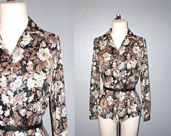 SALE - Vintage 70s boho blouse FLORAL long sleeve top - S/M