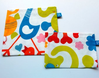 Reuseable Eco-Friendly Set of Snack and Sandwich Bags in Fun IKEA Fabric