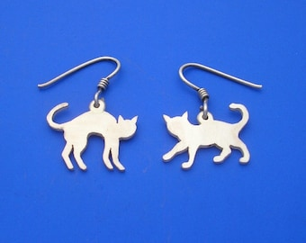Silver Cat Earrings , Hand Made Solid Silver Jewelry Jewellery