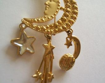 Vintage 80s Celestial Brooch