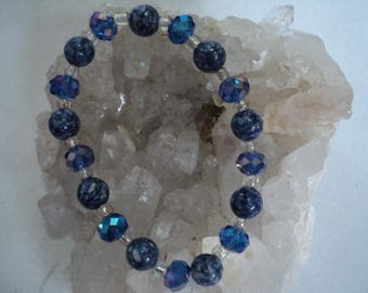 Bracelet Sodalite Beads with Blue Crystals (817)