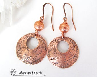 Copper Hoop Earrings, Handmade Artisan Jewelry, Copper Earrings, Modern Jewelry, Hoop Dangle Earrings, Copper Anniversary Gifts for Women