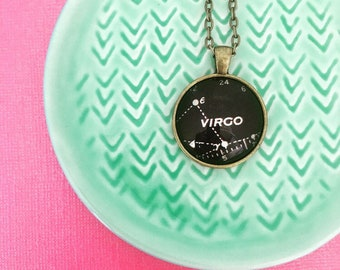 Virgo Necklace -Created from a vintage star chart published in 1937. August Birthday Gift, September Birthday Gift, Zodiac, Astrology