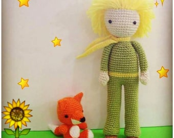 "PDF Amigurumi Pattern, ""The sun boy and his pet"""
