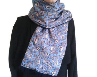 TOOTAL scarf vintage blue paisley wool scarf MOD scooter cravat double scarf vintage neckerchief gentleman scarf hipster scarf