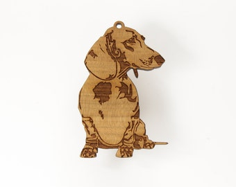 Dachshund Ornament from Timber Green Woods. Made in the U.S.A! - Personalize it with Name Engraving! Cherry Wood - (Seated Dachshund)