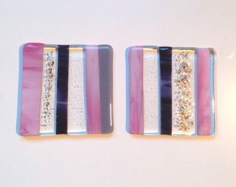 REDUCED PRICE! Set of 2 glass drinks coasters 'Glamour 2'