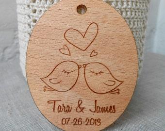 Love Birds Wedding Favor Tags - Personalized Laser Engraved Tags - Rustic Vineyard Wedding Tags - Wooden Veneer Tags - Set of 25