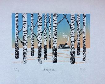 Linoprint of Birch Trees and house - Limited Edition