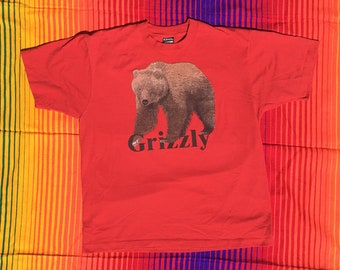 Vintage Red Grizzly Bear Single Stitch T-Shirt // Screen Stars Best // Men's L/XL Made in USA