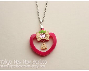Tokyo Mew Mew Inspired Strawberry Bell Bell Acrylic Necklace, Phone Strap, or Keychain for Mahou Kei, Magical Girl Fashion