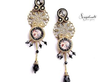 Soutache earrings. Chandelier earrings. Filigree earrings. Long earrings. Fashion earrings. Stud earrings. Stylish earrings. Gift for her.