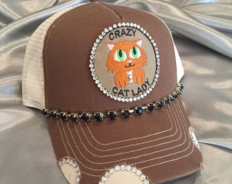 Crazy Cat Lady, Bling Trucker Hats, Bling Hats, Trucker Hats, Cat Lady, Crazy Cat Lady Hats, Bling Trucker Hats, Cat Hats