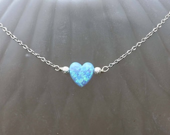 Flashy Blue Green Opal Heart Necklace in Solid Sterling Silver , October Birthstone , 12th 14th 34th Anniversary , Girlfriend Gift , OOAK