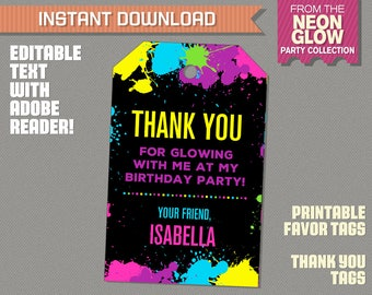 Neon Glow Party Favor Tag, Neon Glow Party Thank you Tag - INSTANT DOWLOAD - Glow in the Dark - Edit and print at home with Adobe Reader