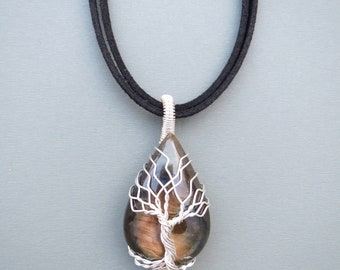 Tree Of Life Pendant, Tree Of Life Necklace, Wire Wrap Necklace, Wire Wrapping Stones, Silver jewelry, Labradorite stone, TOL060