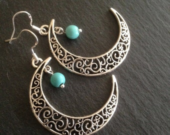Moon Earrings, Turquoise Earrings, Turquoise Jewellery, Crescent Earrings, Boho, Bohemian, Gypsy