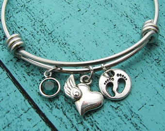loss of baby, memorial gift bracelet, miscarriage jewelry, sympathy gift, infant loss gift for loss of child, remembrance gift, baby feet