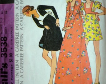 Vintage 70's McCall's 3538 Sewing Pattern, Misses Women's Empire Waist Dress Size 12, Bust 34, Retro Boho 1970's Fashion