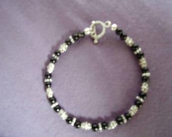 Black agate and pewter bracelet