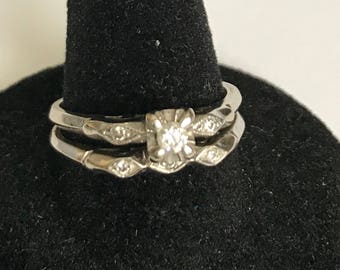 Vintage White 10-14K Gold diamond engagement ring with matching wedding band