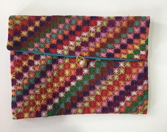 Handmade embroidered Purse/Make-up bag - geometric Malagasy design