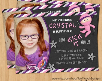 Girl's Pink Ninja Warrior Birthday Invite With Photo, Karate Party Invitation - Printable, Digital, Custom, Throwing Star, Sai, Samurai