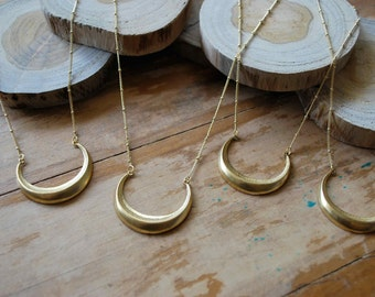 Waxing Crescent Moon Brass Pendant Necklace