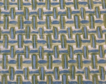 Baby Blue - Green Geometric - Upholstery Fabric by The Yard - Home Decor