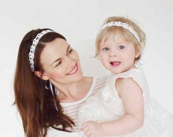 Matching Headbands for Mommy and Me, Baby Mommy Matching Headbands, Matching Flower Girl Headband, Mommy Baby Shower Gift, White Headbands