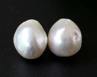 One pair Ivory  big Special Natural Baroque  Freshwater Pearl Earrings Christmas, Wedding,Happiness,birthday Gift