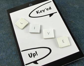 iTacks, LIVE, Thumbtacks, bulletin board, Recycled, Mac, Apple, Love,Computer, Key, keyboard, gift, birthday, Teacher Gift, Student Gift