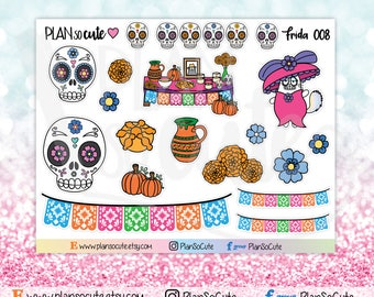 Frida stickers, Day of the dead Stickers, Caticorn Stickers, Planner Stickers -008