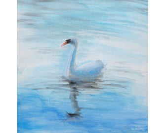 oil painting // little swan // artistic work of art // animal portrayal hand-painted expressionism art