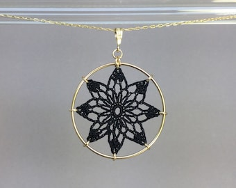 Tavita doily necklace, black silk thread, 14K gold-filled