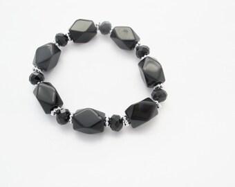 Black Hematite Bracelet, Gemstone bracelet, Hematite nuggets elastic bracelet, Black Bracelet, Hematite gemstone