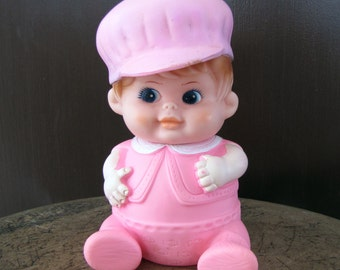 Vintage Squeaky Doll Toy, Squeazable Rubber Doll, 1968 Pink Doll, Pink Doll Squeak Rubber, Doll Squeaky Toy, Vintage Rubber Squeak Pink Doll
