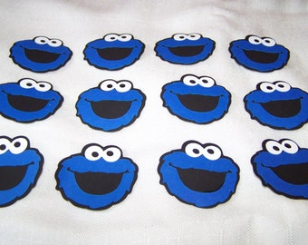 """Blue Cookie Monster die cut 2"""" (2 inch) party favors 