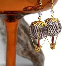 Hot air balloon trip Steampunk purple and Red Pearl Gold Vintage Style earrings