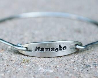 Namaste Bangle Bracelet, Mantra Bangle Bracelet, Namaste Yoga Bangle, Charm Mantra Bangle Bracelet, Gift for Yoga Teacher, Mantra Bangle