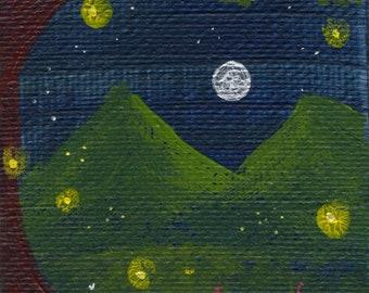 Night Sky Fireflies Painting
