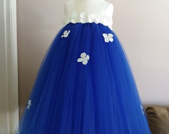 Beautiful Royal Blue and White Flower girl tutu