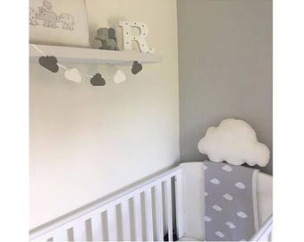Wooden cloud bunting nursery decor