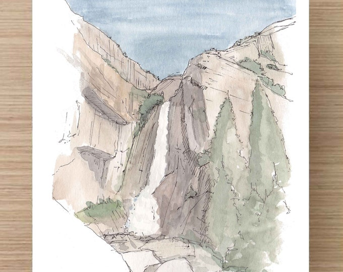Ink and Watercolor Drawing of Yosemite Falls (2) - Yosemite National Park, Waterfall, Landscape, Sketch, Art, Pen and Ink, 5x7, 8x10