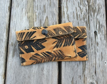 Waxed Canvas Pouch, Snap Pouch, Wallet, Feather Print