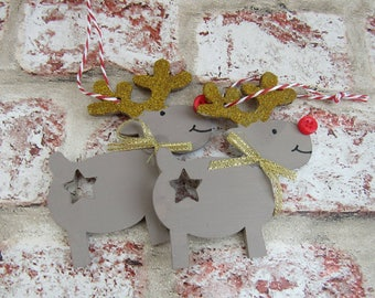 Personalised Christmas tree decorations, gold
